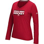 adidas Women's New Jersey Devils Local Dassler Red Performance V-Neck Long Sleeve Shirt