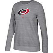 adidas Women's Carolina Hurricanes Distressed Logo Heather Grey Sweatshirt