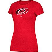 adidas Women's Carolina Hurricanes Logo Heathered Red T-Shirt
