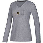 adidas Women's Vegas Golden Knights Gradient Ultimate Heather Grey Performance V-Neck Long Sleeve Shirt