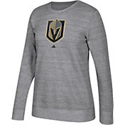 adidas Women's Vegas Golden Knights Distressed Logo Heather Grey Sweatshirt