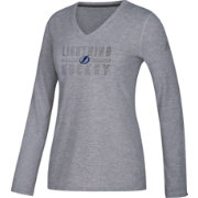 adidas Women's Tampa Bay Lightning Gradient Ultimate Heather Grey Performance V-Neck Long Sleeve Shirt