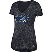 adidas Women's Tampa Bay Lightning Script Tail White V-Neck T-Shirt