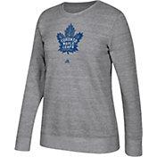 adidas Women's Toronto Maple Leafs Distressed Logo Heather Grey Sweatshirt