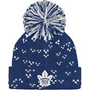 adidas Women's Toronto Maple Leafs Royal Cuff Pom Knit Beanie