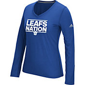 adidas Women's Toronto Maple Leafs Local Dassler Royal Performance V-Neck Long Sleeve Shirt