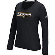 adidas Women's Pittsburgh Penguins Local Dassler Black Performance V-Neck Long Sleeve Shirt