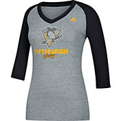 adidas Women's Pittsburgh Penguins Bling Heather Grey/Black 3/4 Sleeve V-Neck Shirt
