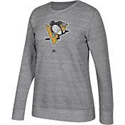 adidas Women's Pittsburgh Penguins Distressed Logo Heather Grey Sweatshirt