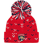 adidas Women's Florida Panthers Red Cuff Pom Knit Beanie