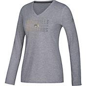 adidas Women's Nashville Predators Gradient Ultimate Heather Grey Performance V-Neck Long Sleeve Shirt