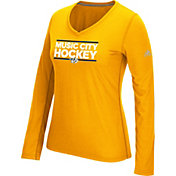 adidas Women's Nashville Predators Local Dassler Gold Performance V-Neck Long Sleeve Shirt