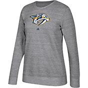 adidas Women's Nashville Predators Distressed Logo Heather Grey Sweatshirt
