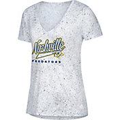 adidas Women's Nashville Predators Script Tail White V-Neck T-Shirt