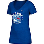 adidas Women's New York Rangers Banner Dazzle Royal Heathered T-Shirt