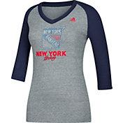 adidas Women's New York Rangers Bling Blue 3/4 Sleeve V-Neck Shirt