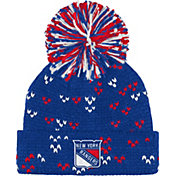 adidas Women's New York Rangers Royal Cuff Pom Knit Beanie