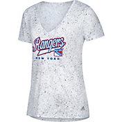 adidas Women's New York Rangers Script Tail White V-Neck T-Shirt