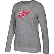 adidas Women's Detroit Red Wings Distressed Logo Heather Grey Sweatshirt