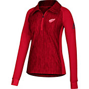 adidas Women's Detroit Red Wings Logo Red Performance Quarter-Zip Pullover