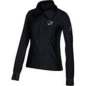 adidas Women's San Jose Sharks Logo Black Performance Quarter-Zip Pullover