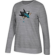 adidas Women's San Jose Sharks Distressed Logo Heather Grey Sweatshirt