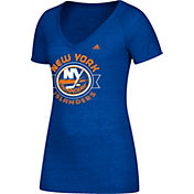 adidas Women's New York Islanders Banner Dazzle Royal Heathered T-Shirt