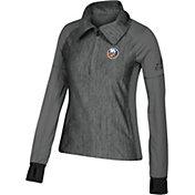 adidas Women's New York Islanders Logo Grey Performance Quarter-Zip Pullover