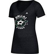 adidas Women's Dallas Stars Banner Dazzle Black Heathered T-Shirt