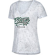 adidas Women's Dallas Stars Script Tail White V-Neck T-Shirt