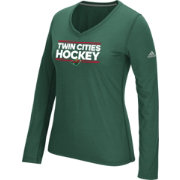 adidas Women's Minnesota Wild Local Dassler Green Performance V-Neck Long Sleeve Shirt