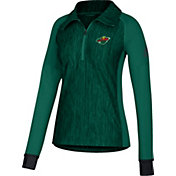 adidas Women's Minnesota Wild Logo Green Performance Quarter-Zip Pullover