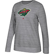 adidas Women's Minnesota Wild Distressed Logo Heather Grey Sweatshirt