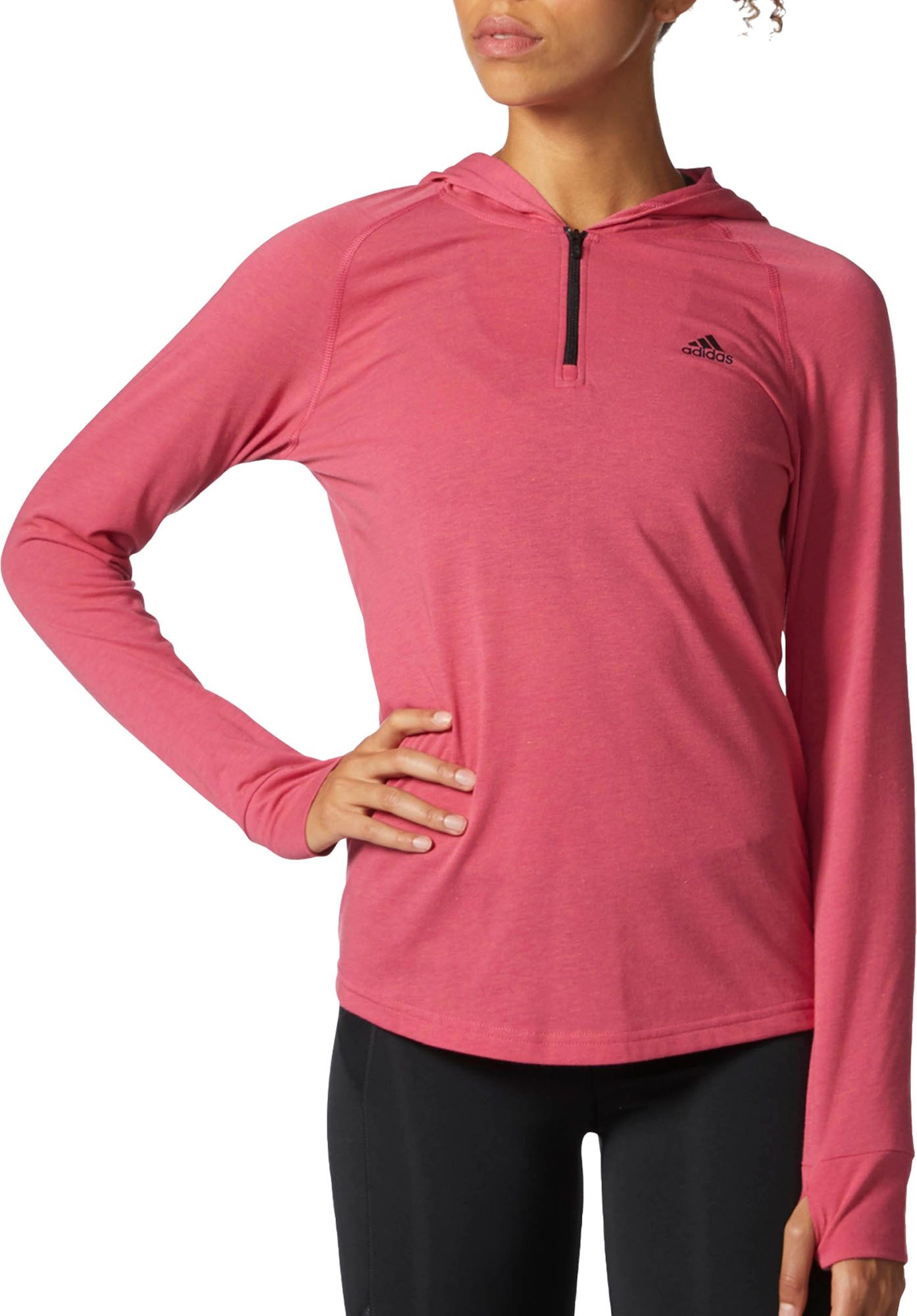 Adidas Women's Ultimate 1/4 Zip Hooded T Shirt by Adidas