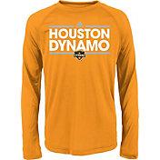 adidas Youth Houston Dynamo Dassler Long Sleeve Orange T-Shirt