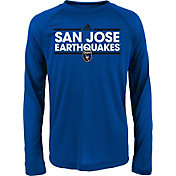adidas Youth San Jose Earthquakes Dassler Long Sleeve Blue T-Shirt