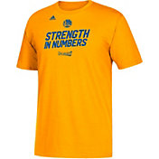 """adidas Youth Golden State Warriors 2017 NBA Playoffs """"Strength In Numbers"""" Gold T-Shirt"""