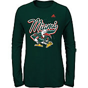 adidas Youth Miami Hurricanes Green Mascot Long Sleeve T-Shirt