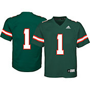 adidas Youth Miami Hurricanes Green #1 Replica Jersey