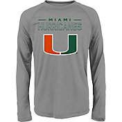 adidas Youth Miami Hurricanes Long Sleeve Grey T-Shirt