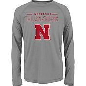 adidas Youth Nebraska Cornhuskers Long Sleeve Grey T-Shirt