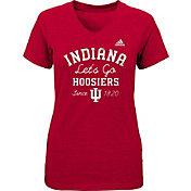 adidas Girls' Indiana Hoosiers Crimson V-Neck T-Shirt