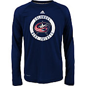 adidas Youth Columbus Blue Jackets Practice Navy Performance Long Sleeve Shirt