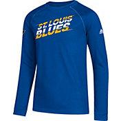 adidas Youth St. Louis Blues Line Shift Royal Long Sleeve Shirt
