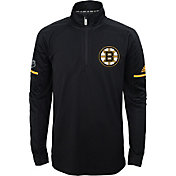 adidas Youth Boston Bruins Authentic Pro Black Quarter-Zip Jacket