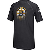 adidas Youth Boston Bruins Drifting Black T-Shirt