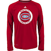 adidas Youth Montreal Canadiens Practice Red Performance Long Sleeve Shirt