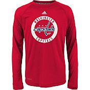 adidas Youth Washington Capitals Practice Red Performance Long Sleeve Shirt