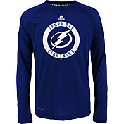 adidas Youth Tampa Bay Lightning Practice Royal Performance Long Sleeve Shirt