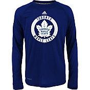 adidas Youth Toronto Maple Leafs Practice Royal Performance Long Sleeve Shirt